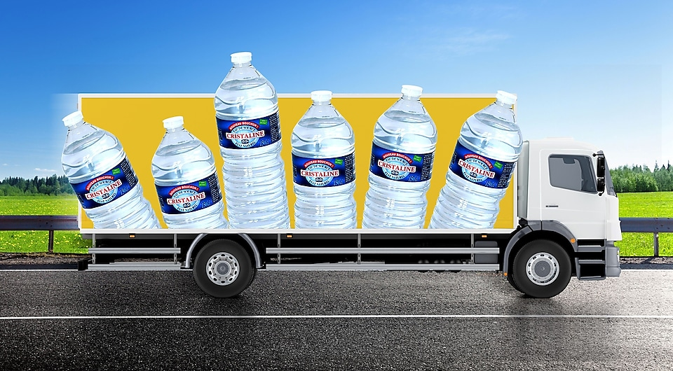 Truck with bottles